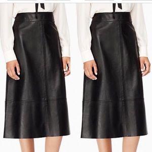 Kate Spade lamb leather midi skirt